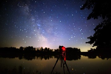 The camera on the tripod takes pictures of stars of open space in the night sky.