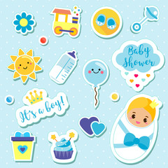 It's a boy stickers set in blue colors. Kids, children design elements for scrapbook. Decorative vector icons with newborn symbols for baby shower and other nursery design