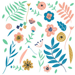Flowers and leaves graphic. Floral Design elements