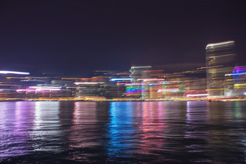 View on Hong Kong cityline with motion light trails