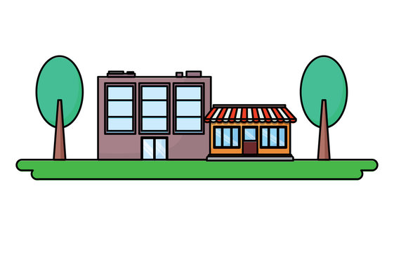 store and trees over white background, colorful design. vector illustration