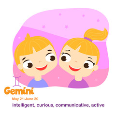Gemini. Kids zodiac. Children horoscope sign. Astrological symbols in cartoon style