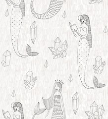 Vector cute seamless pattern with a mermaid and crystals.