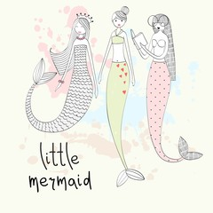 Vector hand drawn illustration of a mermaid