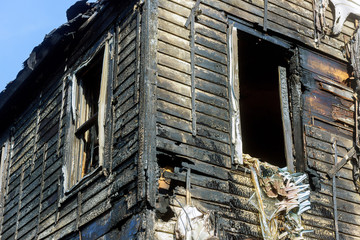 Dramatic fiery destruction to a house. Useful image for any fire prevention theme after fire