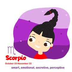 Scorpio. Kids zodiac. Children horoscope sign. Astrological symbols with cute baby face in cartoon style