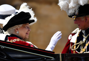 Britain's Queen Elizabeth attends the Most Noble Order of the Garter Ceremony at St George's Chapel, Windsor Castle in Windsor