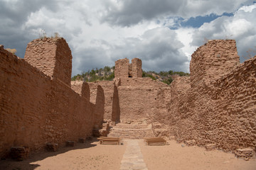 Old Spanish mission church ruins at Jemez State Monument on the Jemez Mountain Trail National Scenic Byway in New Mexico