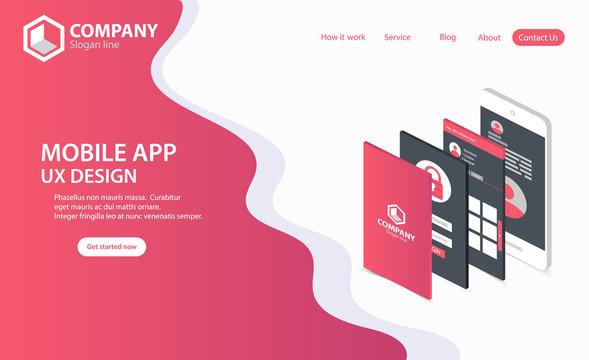 New Trendy Mobile App Website Landing Page vector theme template design