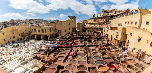 Leather dying in a traditional tannery in Fez, Morocco