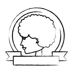 emblem with profile of a woman and decorative ribbon over white background, vector illustration