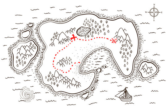 Ancient pirate map with red path to treasure on white