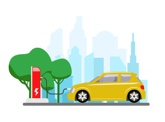 Electric car charging at refuelling power station. Modern vehicle technology. Vector illustration
