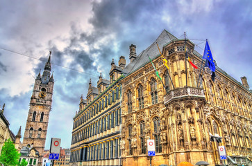 The City Hall and the Belfry of Ghent, Belgium
