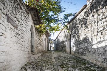street in berat old town in albania