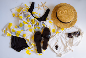 flat lay with clothes. fashion. summer concept