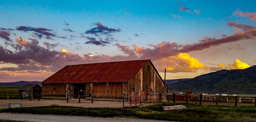 Sunset over the Hunewill Ranch Barn that was built in 1880
