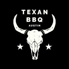 Texan BBQ Austin Longhorn Food and Drink Illustration Logo