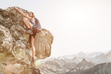 Bold and brave Girl doing Free Solo Climbing