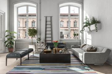 Modern rustic living room interior. 3d Rendering