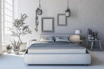 Wireframe concept of bedroom interior