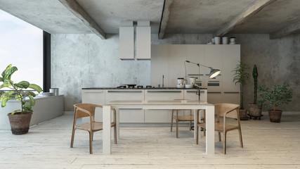 Trendy white kitchen in loft interior