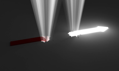 Arrows and light, conceptual image.