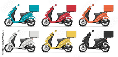 delivery scooter vector mockup with left side view isolated