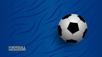 Realistic football on blue background, football championship cup, abstract background, vector illustration