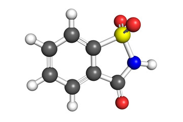 Saccharin molecule, ball-and-stick model