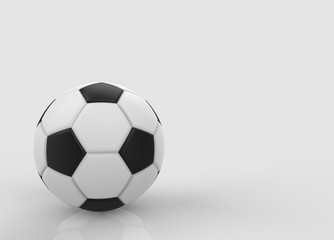 3d rendering. A soccer ball on gray copy space background.