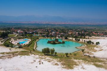 Panoramic view of Pammukale near modern city Denizli, Turkey. One of famous tourists place in Turkey.