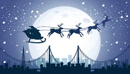 Silhouette Santa and Reindeer Flying Night Sky