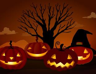 Spooky Pumpkin on Halloween Night