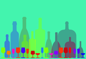 a row of vividly colored wine bottles and wine glasses on a blue-green background - vector illustration