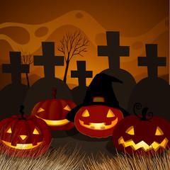 Halloween Pumpkin at Graveyard Night