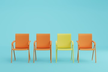 Orange and yellow chair in blue room, pastel color style. Minimal style concept.