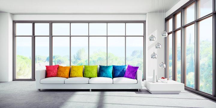 Wohnzimmer im Strandhaus mit Meerblick