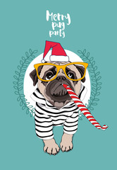 Christmas card. Pug Dog in a striped cardigan, in a red Santa's cap, yellow glasses and with a funny party whistle blowing. Vector illustration.
