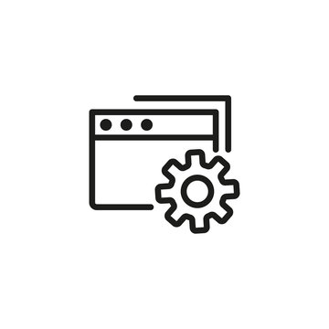 Settings folder line icon. Document, file, account. Project management concept. Vector illustration can be used for topics like service, interface, configuration