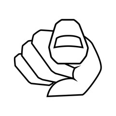 Index finger pointing at you. Hand with finger pointing. Choosing gesture icon, direction and showing. Vector illustration