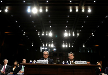 Department of Justice Inspector General Horowitz and FBI Director Wray testifiy before a Senate Judiciary Committee hearing on Capitol Hill in Washington