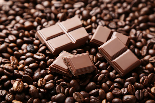 Chocolate pieces and coffee beans
