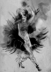 Carnival Dancer. An hand painted picure with some dancing woman.
