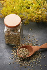 Fennel seeds in glass jar and spoon on grey background