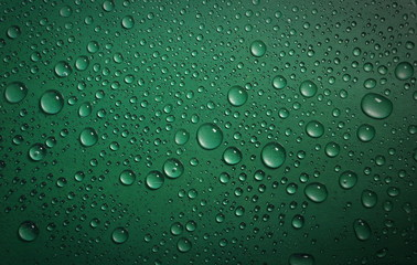 water drops on green background texture