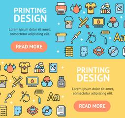 Printing Signs Banner Horizontal Set. Vector