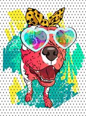 Dog vector portrait. Fashion t-shirt. Fun image. Cool graffiti.