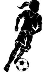 Soccer Girl Dribbling Silhouette