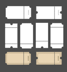 Realistic Detailed 3d White Mockup Tickets Set. Vector